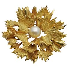 Mid Century 18k Gold and Pearl Holly Brooch