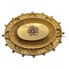 Victorian Gold Ruby Pearl Mourning Brooch