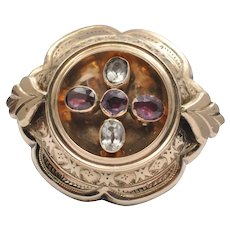 Victorian Garnet and Quartz Gold Brooch