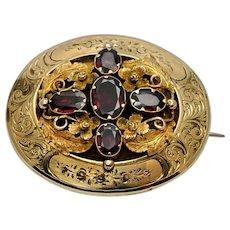 Victorian Flat Cut Garnet Gold Mourning Brooch
