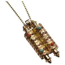 Torah Scrolls 14k Gold Filigree Pendant