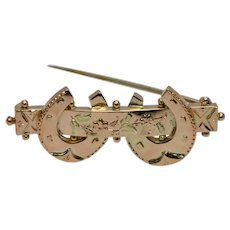 Victorian Double Horseshoe Gold Brooch