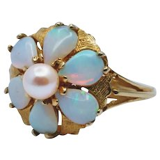Opal and Pearl Flower Ring