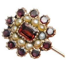 Georgian Garnet & Pearl Gold Brooch
