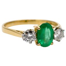 Emerald and Diamond Trilogy Gold Ring