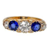Victorian Sapphire Diamond Five Stone Ring