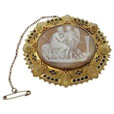 Victorian Cameo 15k Gold Brooch