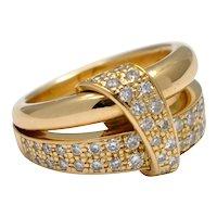 Asprey Diamond 18k Gold Band Ring