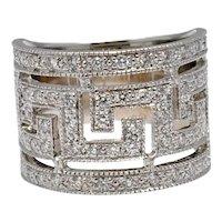 Diamond 18k Gold Greek Key Band Ring