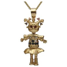 Angelica Pickles Rugrats Gold Gemstone Pendant