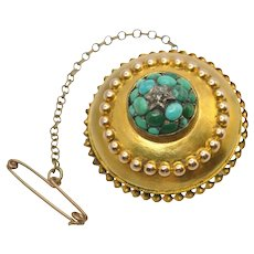 Victorian Turquoise 15k Gold Etruscan Revival Brooch