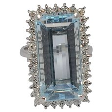 Mid Century Aquamarine Diamond 18k Gold Ring
