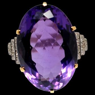 Amethyst Diamond 18k Gold Cocktail Ring