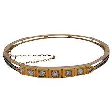 Victorian 15k Gold Diamond Bangle