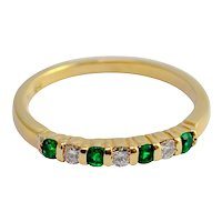 Tiffany & Co. Emerald Diamond 18ct Gold Eternity Ring