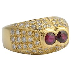 French Ruby Diamond and Gold Bombé Ring
