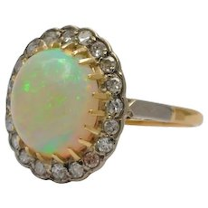 Vintage Opal Diamond 18k Gold Ring