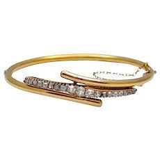 Victorian Diamond 14k Gold Bangle