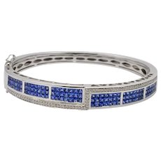 Sapphire Diamond White Gold Bangle