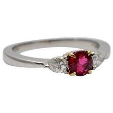 Tiffany & Co Ruby Diamond Platinum Engagement Ring
