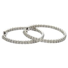 Tiffany and Co Diamond Hoop Gold Earrings