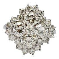 Mid Century Diamond Cluster 18k Gold Ring