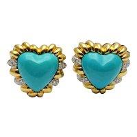Turquoise Diamond 18k Gold heart Earrings