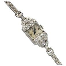 Art Deco Diamond Platinum Bracelet Cocktail Watch