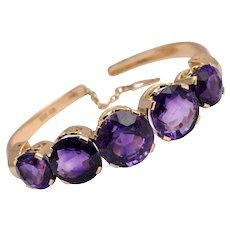 Vintage 5 Stone Amethyst 14k Gold Bracelet