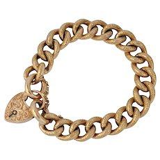 Antique Edwardian 9k Gold Curb Link Bracelet