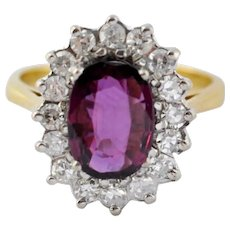 Ruby Diamond Gold Cluster Engagement Ring