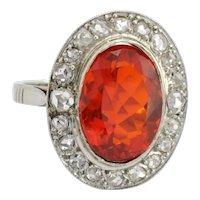Art Deco Fire Opal Diamond Gold Ring