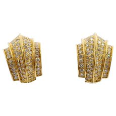 Retro Diamond 18k Gold Earrings