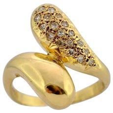 Mid Century Diamond 18k Gold Crossover Ring