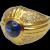Cabochon Sapphire Diamond 14k Gold Bombé Ring