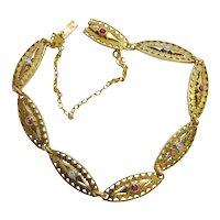 Antique French 18k Gold Filigree Ruby Diamond Bracelet