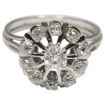 French Mid Century Diamond Cluster 18k Gold Ring