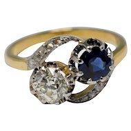 Sapphire Diamond Toi et Moi 18k Gold Ring