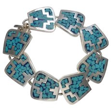 Vintage Mexican Silver and Turquoise Bracelet