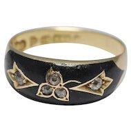 Antique Victorian Enamel Diamond 15k Gold Mourning Ring