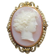 French 19th Century Agate Diamond 18k Gold Cameo