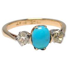 Edwardian Turquoise Diamond 18k Gold Platinum Ring