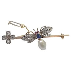 Victorian Diamond Bee 15K Gold Brooch