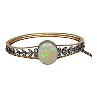 Victorian Opal Diamond Gold Bangle