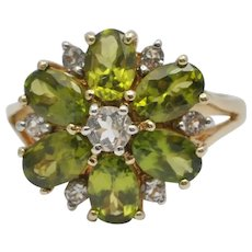 Peridot and Topaz Gold Ring