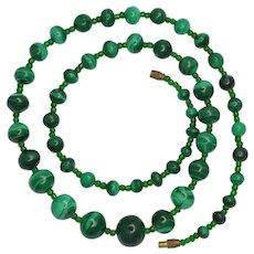 Antique Victorian Malachite Necklace