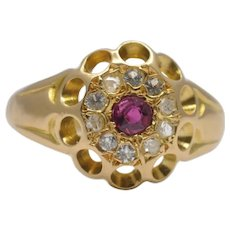 Antique Edwardian Ruby and Diamond Halo Ring