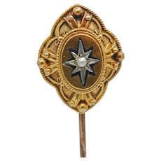 Victorian 15k Gold Pearl and Enamel Stick Pin