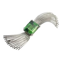 Tourmaline and 18k White Gold Brooch