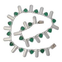 Vintage Mexican Sterling Silver and Malachite necklace